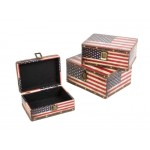 Wooden Boxes Nested Set of 3 - USA Flag Pattern