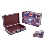 Wooden Suit Cases Nested Set of 2 - WORLD TRIP