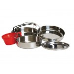 Camp Cooking Set Stainless Steel Mess Kit 5pce
