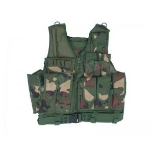 Dark Green Camo Hunting Shooting Vest with Pistol Holster