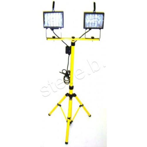 Rolson 400w Heavy Duty Halogen Work Light Portable Garage: Workshop Light 240V 2x 500W Flood Lamps & Stand
