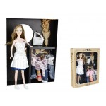 Fashion Dress-Up Doll with White Dress Clothes and Accessories