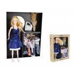 Fashion Dress-Up Doll with Blue Dress Clothes and Accessories